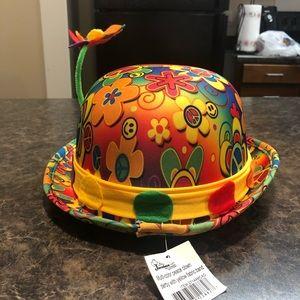 jacobson peace clown derby hat w/ flower